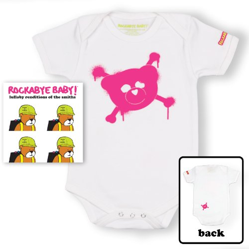 Price comparison product image Rockabye Baby! The Smiths + 100% Organic Cotton Bodysuit (White / Pink)