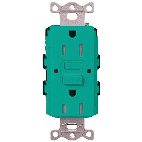 Lutron  SCR-20-GFST-TQ  20-Amp  Tamper Resistant Self-Testing Receptacle, Turquoise -  Lutron Electronics Company, Inc.