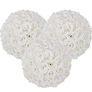15 Pack Romantic Rose Pomander Flower Balls Rose Bridal for Wedding Bouquets Artificial Flower DIY White By Ben Collection 8