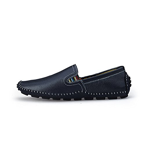 No.66 Town Hombres Fashion Driving Leather Flats Cómodo Mocasines Suaves Casual Zapatos Blue (slip On)