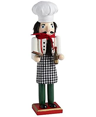 """15"""" Italian Chef with Pizza and Wine Holiday Wooden Nutcracker"""