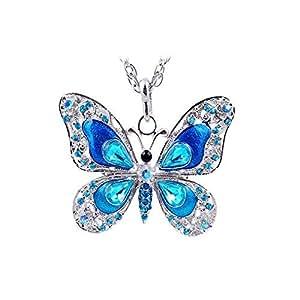 Autumn Enamel Crystal Butterfly Pendant Necklace for Women