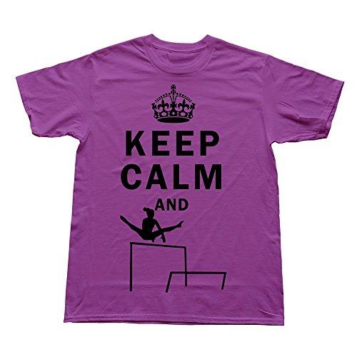 FQZX Men's Keep Calm Do Uneven Bars T Shirt Small Purple ()