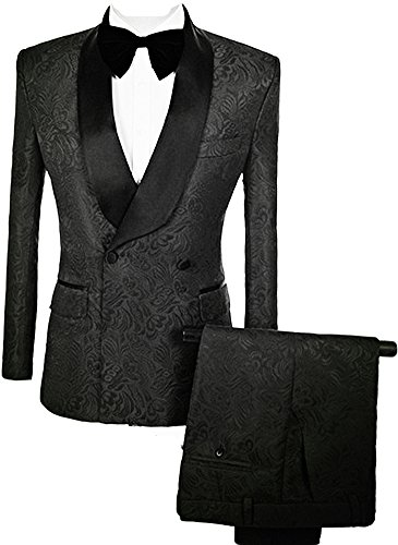 auguswu Double Breasted Jacquard Weave Mens Slim Fit Tuxedos Suits 2 Piece Sets 42R Black