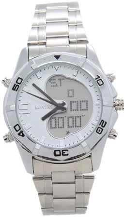 KONTAS Stainless Steel Dual Time White Sports Watches