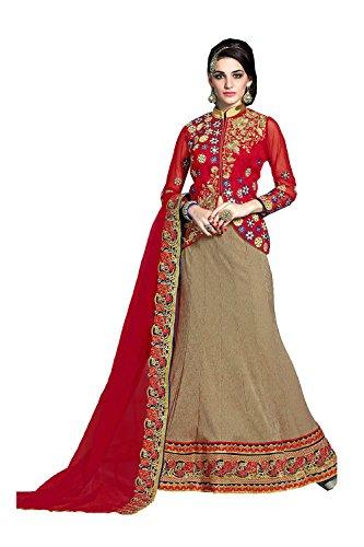 IWS Womens Bhagalpuri Silk Fabric Brown Pretty Circular Lehenga Style 81292