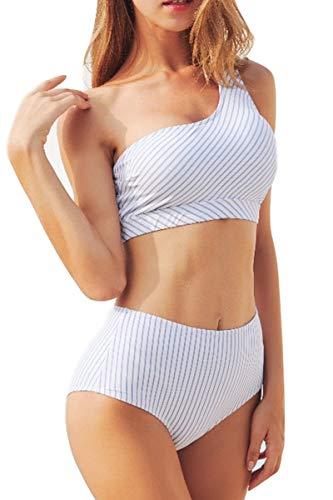 AdoreShe Women's Blue White Breezy Stripe Two Piece Swimsuit Bikini Set One Shoulder Swimwear Bathing Suit(A18063,M)