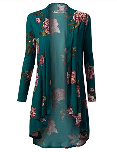 URBANCLEO Womens Floral Hi-Lo Open Front Long Cardigan Teal, XL