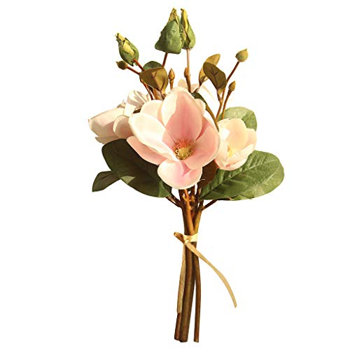 (Artificial Fake Flowers Leaf Magnolia Floral Wedding Bouquet Party Home)