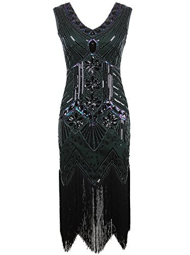 Vijiv Women 1920s Gastby Sequin Art Nouveau Embellished Fringed Flapper Dress Dark Green Small]()