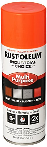 Rust-Oleum 1654830 Fluorescent Orange 1600 System General Purpose Enamel Spray Paint, 16 fl. oz. container, 12 oz. weight fill, Can (Pack of 6)