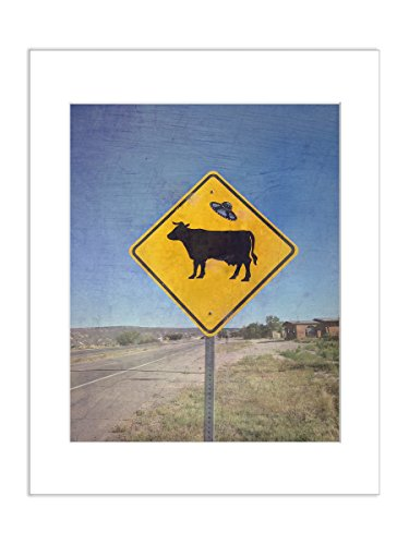 Funny Signs for Home Office Decor Alien Cow Crossing 5x7 Matted Wall Print