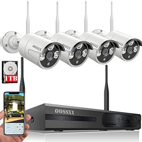 ?2018 Update? HD 1080P 8-Channel OOSSXX Wireless System/IP Security Camera System 4Pcs White 720P(1.0 Megapixel) Wireless Indoor/Outdoor IR Bullet IP Cameras,P2P,App, HDMI Cord & 1TB HDD Pre-Install