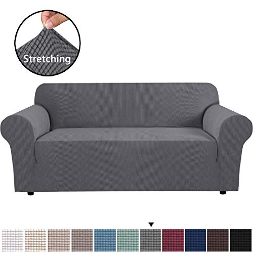 "H.VERSAILTEX High Stretch Sofa Cover 1 Piece Couch Covers Lounge Covers for 3 Cushion Couch Sofa Slipcover for Living Room Sofa Cover Stretch Lycra Jacquard Sofa Slipcover (Sofa 72""-88"": Gray)"