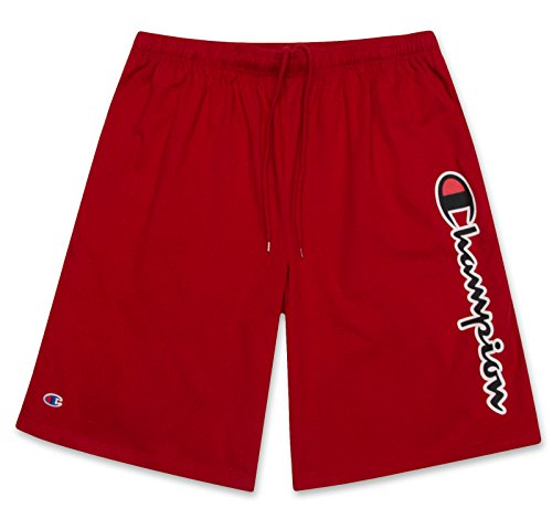 (Champion Mens Big and Tall Lightweight Cotton Jersey Shorts with Script Logo Scarlet 4X Big)