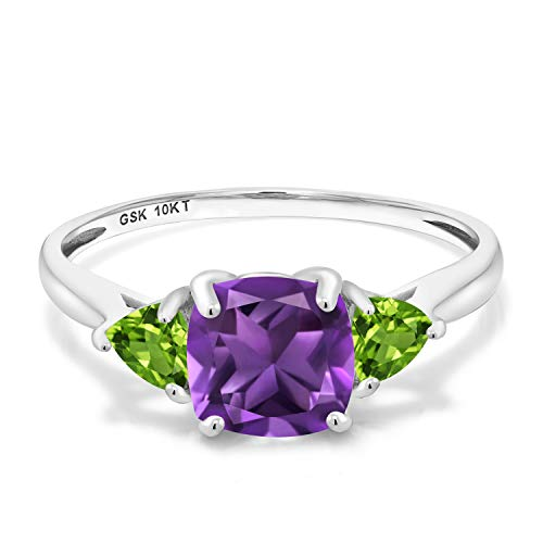 Gem Stone King 1.92 Ct Cushion Purple Amethyst Green Peridot 10K White Gold 3 Stone Meghan Ring