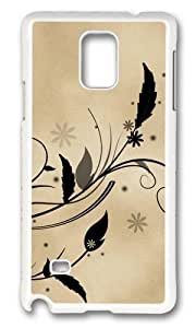 Adorable Feather and flora flowers leaves parchment vines Hard Case Protective Shell Cell Phone Cover For Samsung Galaxy Note 4 - PC White