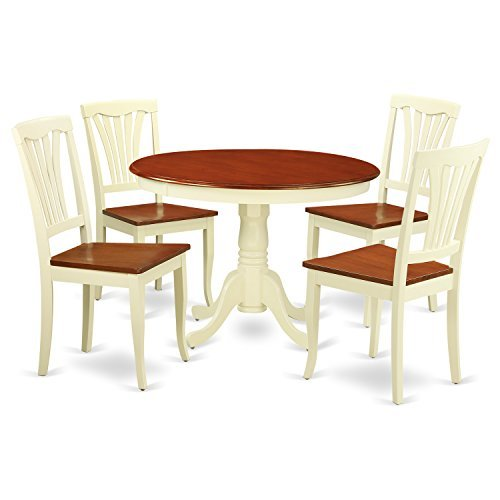 Round Wood Dinette - East West Furniture HLAV5-BMK-W 5Piece Hartland Set with One Round 42in Dinette Table & Four Kitchen Chairs with Wood Seat, Buttermilk & Cherry