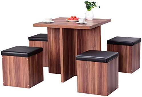 Giantex 5 Pcs Dining Table and Chair Set Wooden Dinette Table Set W/ 4  Storage Ottoman Stools for Living Room Dining Room Home Furniture Coffee  Table ...