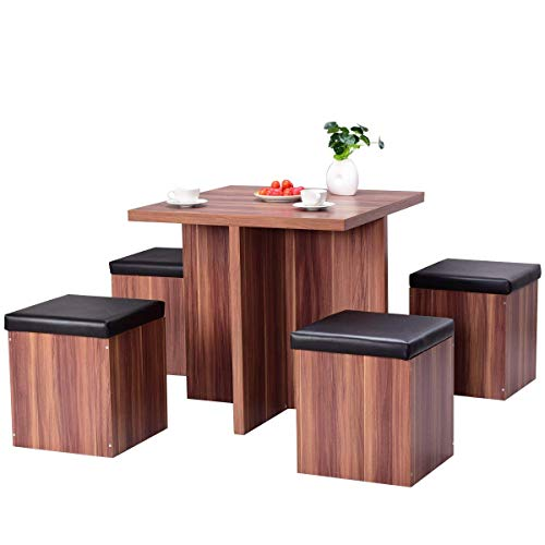 Giantex 5 Pcs Dining Table and Chair Set Wooden Dinette Table Set W/ 4 Storage Ottoman Stools for Living Room Dining Room Home Furniture Coffee Table and Chair Set (Walnut)