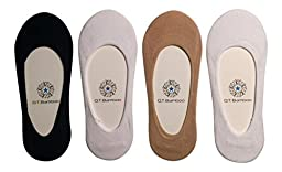 Q.T. Bamboo Women\'s No Show Bamboo Invisible Sock Liners (4 Pack) (Black)