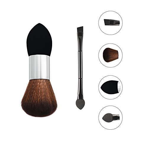Dual Head Makeup Sponge Beauty Cosmetic Foundation Brushes + Blushers Powder Sponge Multi-function Economic Make Up Brushes (Black) by X-OU