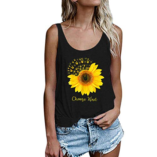 ♡ Londony ♡ Women's Sleeveless Summer Flowy Print Floral Spaghetti Strappy Tank Tops Casual Strap Camis Shirt Black