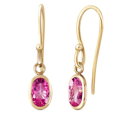 1 Carat 14K Solid Gold Faithful Pink Topaz Earrings (yellow-gold)