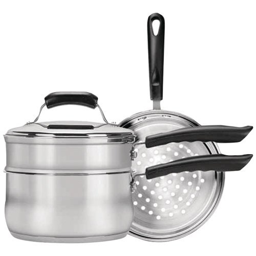 - RANGE KLEEN CW2011 Basics 3-Quart Saucepan with Double Boiler/Steamer Insert Set