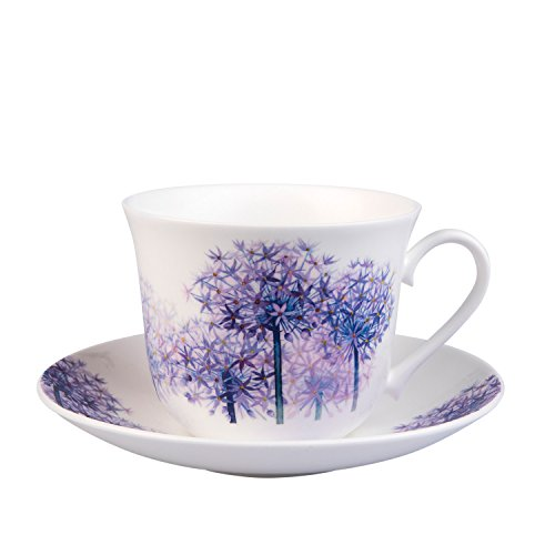 Roy Kirkham Alliums Breakfast Teacup and Saucer Set Fine Bone China White Breakfast Cup