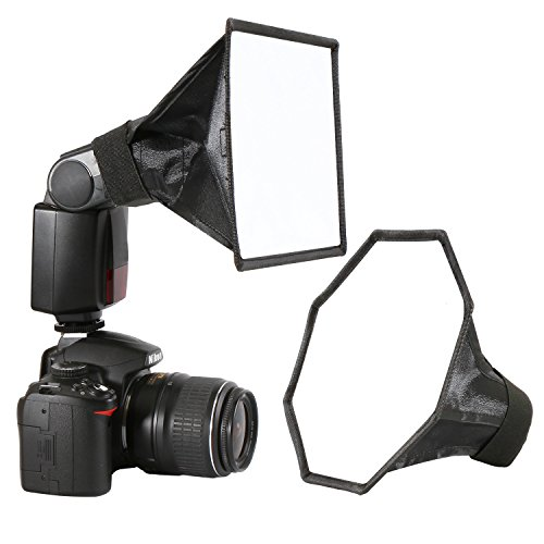 waka Flash Diffuser Light Softbox, [2 Pack] Flash Diffuser Kit Collapsible with Storage Pouch - 8'' Octagon Softbox + 8''x6'' Softbox for Canon, Yongnuo, Nikon Speedlight and Other DSLR Camera Flashes by waka