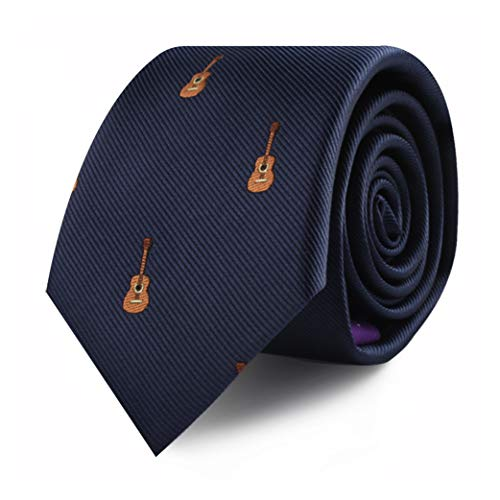 Guitar Player Music Lover Tie for Him | Acoustic Guitarist Gift Skinny Neckties | Present for Work Colleague | Bday Gift for Guys (Guitar)