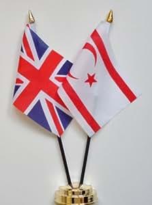 Marianas del Norte Chipre y de la amistad de la bandera de mesa de Reino Unido de la pantalla 25 cm