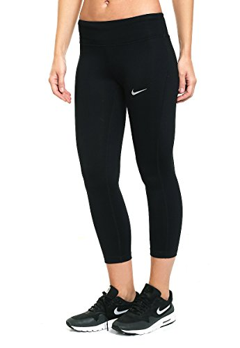 (NIKE Women's Power Essential Dri-FIT Running Crops, Black/Black,)
