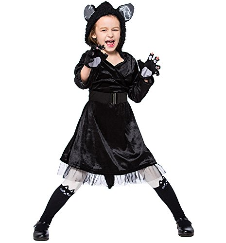 Joygown Hoodie Cat Theme Outfit Fancy Dress Kids Halloween Costume, Black L -