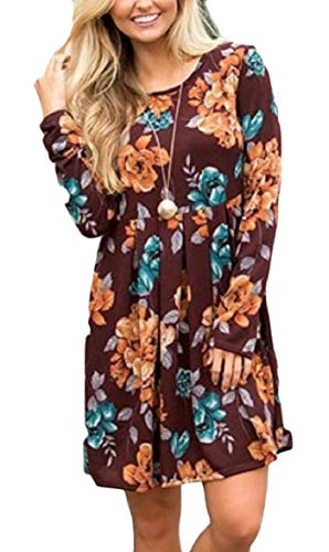 Print O Dress AU Sodossny Floral Sleeve Neck Pleated Womens 2 Casual Short Long w4FqYfw