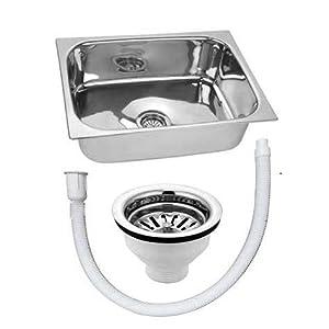 Rudraksha® Kitchen Sink Glossy Finish Stainless Steel Sink Premium Range (Kitchen Sink 24x18x9, PANKHUDI) Weight 4kg