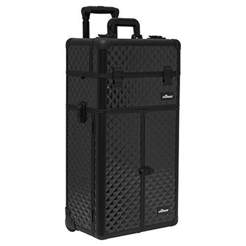 SUNRISE Makeup Rolling Case 2 in 1 Professional Artist I3565, French Doors, 3 Trays and 4 Drawers, Locking with Mirror and Shoulder Strap, Black Diamond by SunRise
