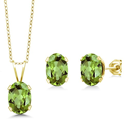 Gem Stone King 2.40 Ct 7X5mm Oval Green Peridot Gold Plated Earrings Pendant Set 18inches
