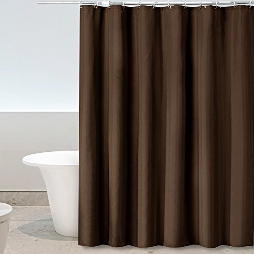 Eforgift Decorative Shower Curtain Mildew Repellant Waterproof Polyester Fabric Curtain for Bath Anti-Bacterial for Women and Men 54 x 78-inch Comes with Reinforced Grommets and Hooks, Solid Coffee -