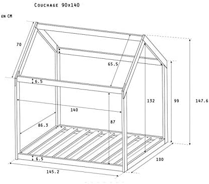 Alfred & Compagnie - Cama cabaña extensible (90 x 140 cm ...