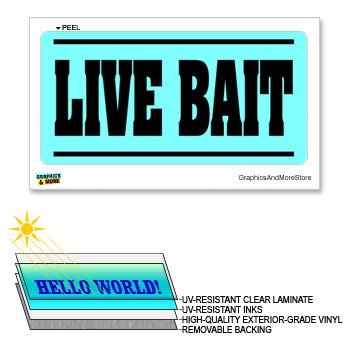 (Live Bait Worms Fishing - 12 in x 6 in - Laminated Sign Window Business Store Sticker)