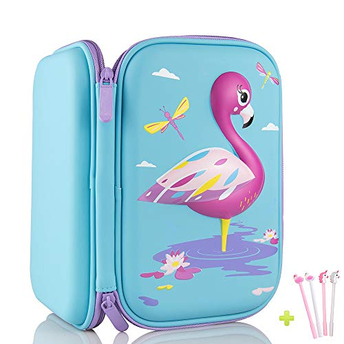 Pencil Case, iDelta 10D Cute EVA Unicorn Pen Pouch Stationery Box Anti-Shock Large Capacity Multi-Compartment for School Students Teens