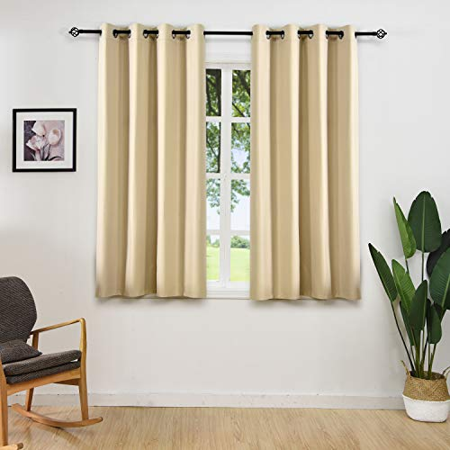 (ALLBRIGHT Thermal Insulated Solid Grommet Blackout Curtains for Bedroom (2 Panels, 52 x 63 Inch, Warm Beige))