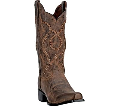 Dan Post Men's Gabriel Square Toe Western Boots, Brown Leather, Suede, ...