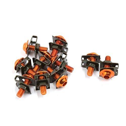 10pcs M6 Caré nage Boulons Vis Fastener Clips Kit orange DealMux