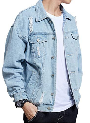 DAVID.ANN Men's Denim Jacket Slim Fit Trucker Coat