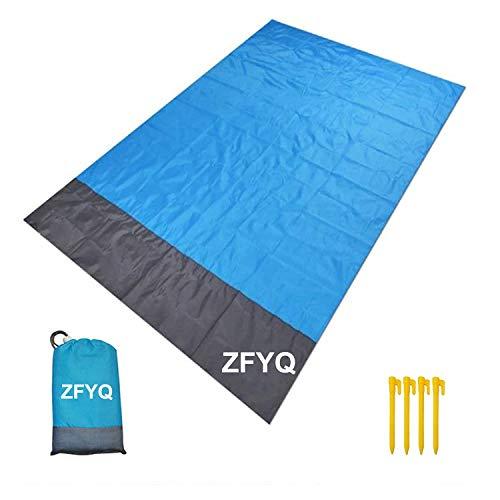 ZFYQ Strandkleed, 200 x 140 cm, zandbestendig, draagbaar, picknickdeken met 4 vaste haringen voor picknick, strand…