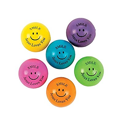 Fun Express Religious Bouncing Balls (Bulk 48 Pack) Christian and Sunday School Toys: Toys & Games