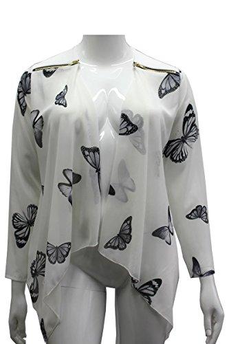 Clothing Trader Ladies Shoulder Zip Waterfall Butterfly Print Top New Ladies Jacket Chiffon Cream